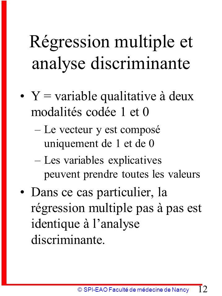 © SPI-EAO Faculté de médecine de Nancy 12 Régression multiple et analyse discriminante Y = variable qualitative à deux modalités codée 1 et 0 –Le vect