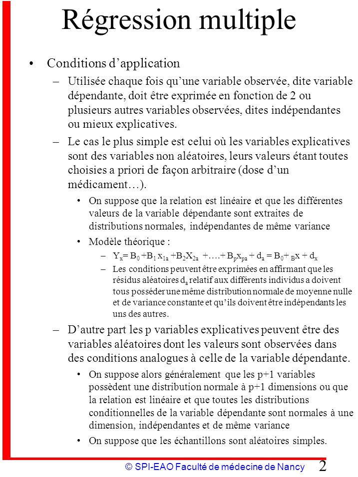 © SPI-EAO Faculté de médecine de Nancy 2 Régression multiple Conditions dapplication –Utilisée chaque fois quune variable observée, dite variable dépe