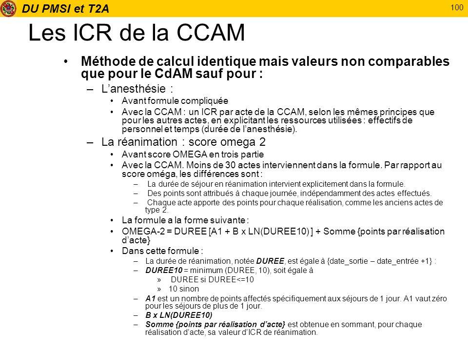 DU PMSI et T2A 100 Les ICR de la CCAM Méthode de calcul identique mais valeurs non comparables que pour le CdAM sauf pour : –Lanesthésie : Avant formu