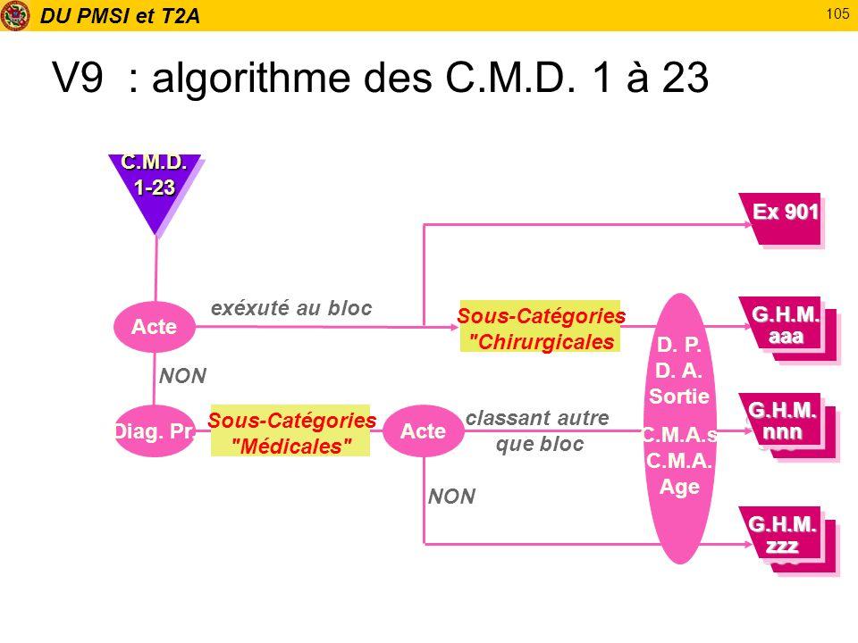 DU PMSI et T2A 105 V9 : algorithme des C.M.D. 1 à 23 Acte exéxuté au bloc Diag. Pr. NON C.M.D.1-23C.M.D.1-23 Sous-Catégories