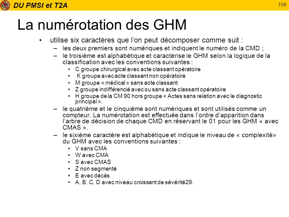 DU PMSI et T2A 109 La numérotation des GHM utilise six caractères que lon peut décomposer comme suit : –les deux premiers sont numériques et indiquent
