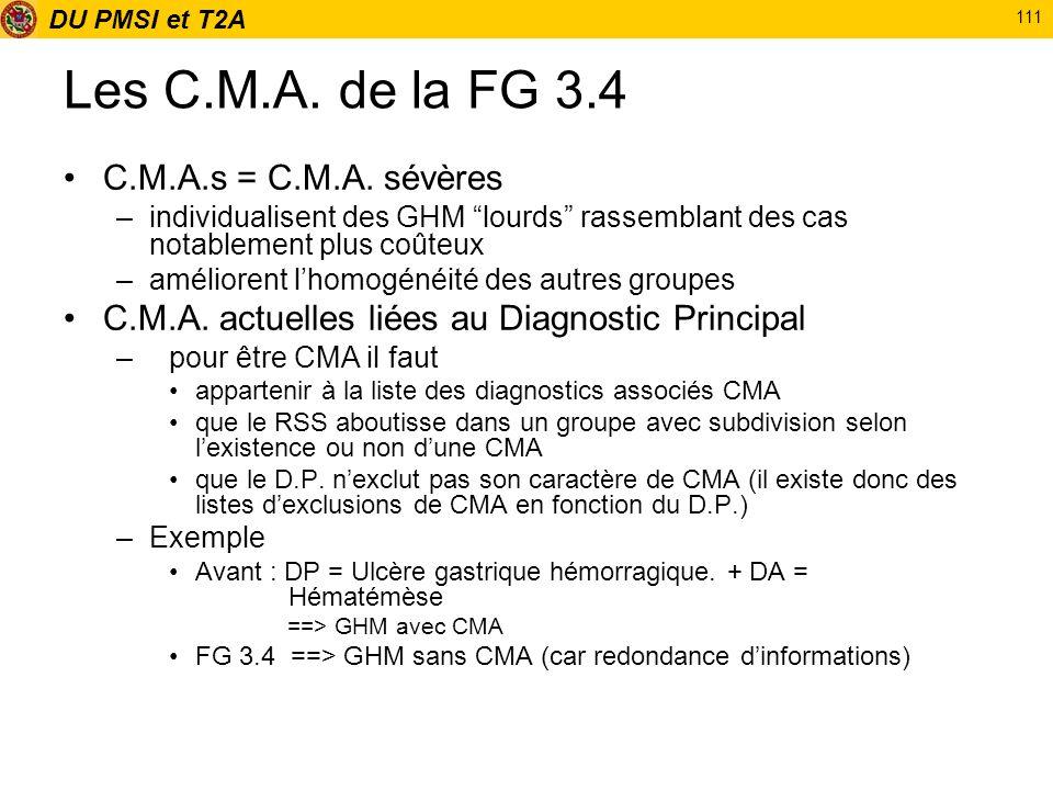 DU PMSI et T2A 111 Les C.M.A. de la FG 3.4 C.M.A.s = C.M.A. sévères –individualisent des GHM lourds rassemblant des cas notablement plus coûteux –amél