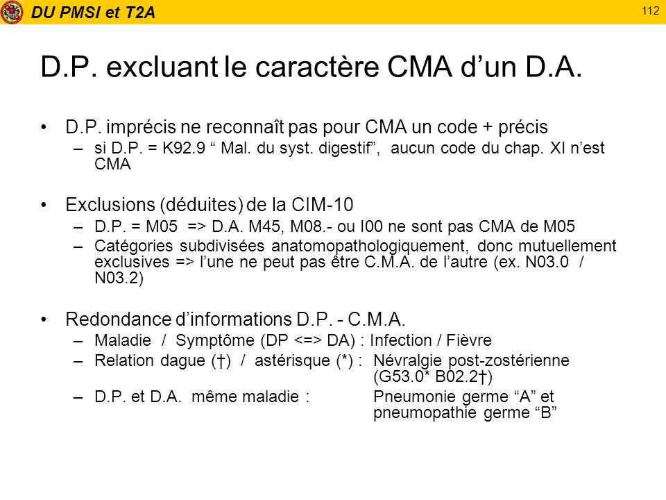 DU PMSI et T2A 112 D.P. excluant le caractère CMA dun D.A. D.P. imprécis ne reconnaît pas pour CMA un code + précis –si D.P. = K92.9 Mal. du syst. dig