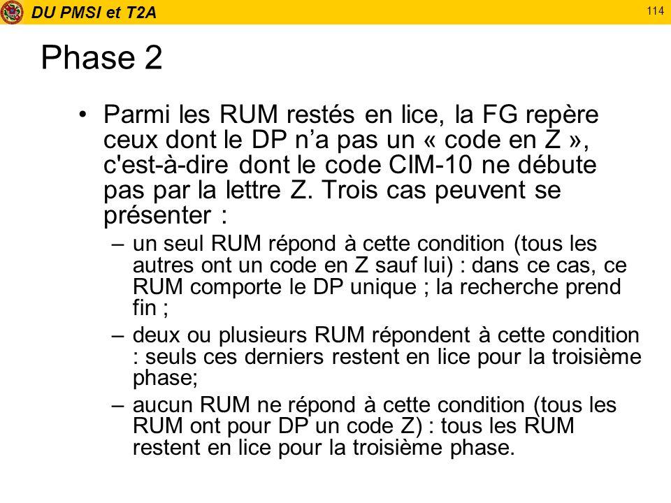 DU PMSI et T2A 114 Phase 2 Parmi les RUM restés en lice, la FG repère ceux dont le DP na pas un « code en Z », c'est-à-dire dont le code CIM-10 ne déb