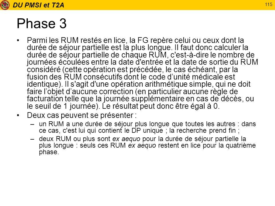 DU PMSI et T2A 115 Phase 3 Parmi les RUM restés en lice, la FG repère celui ou ceux dont la durée de séjour partielle est la plus longue. Il faut donc