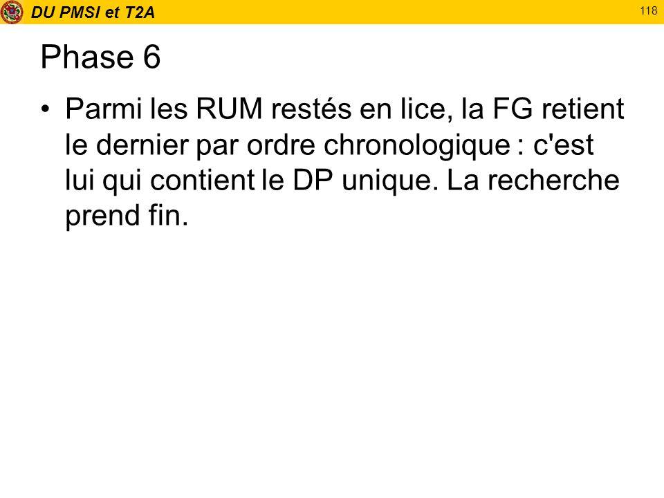 DU PMSI et T2A 118 Phase 6 Parmi les RUM restés en lice, la FG retient le dernier par ordre chronologique : c'est lui qui contient le DP unique. La re