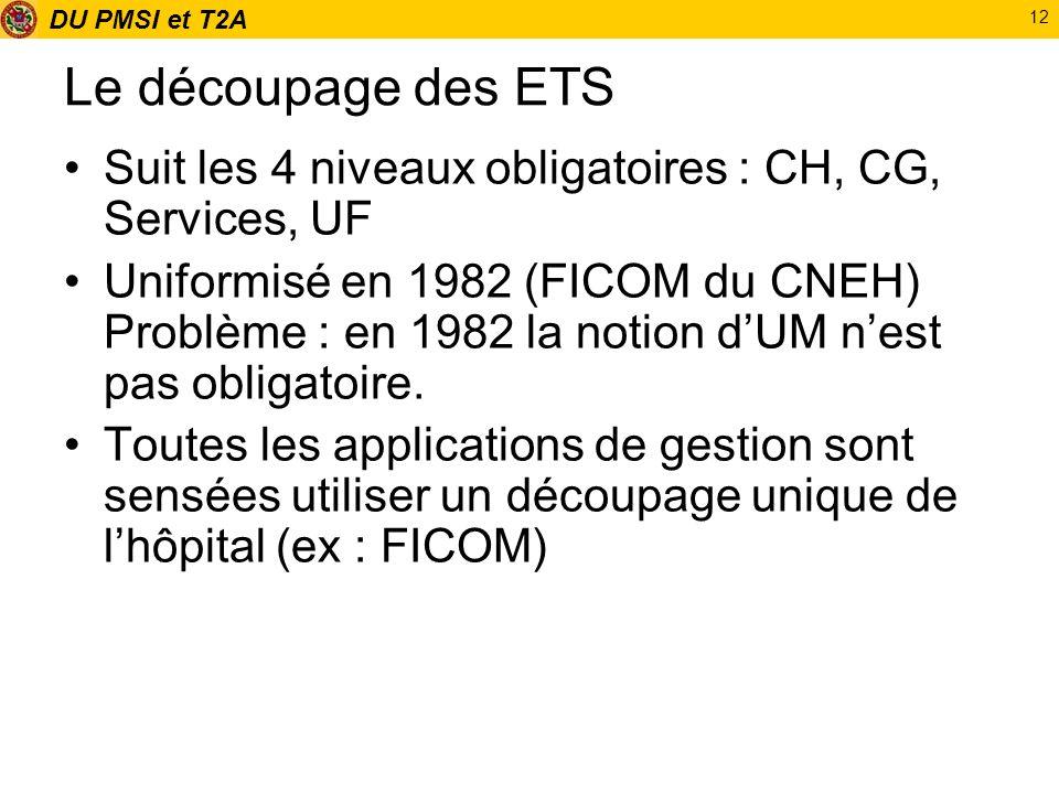 DU PMSI et T2A 12 Le découpage des ETS Suit les 4 niveaux obligatoires : CH, CG, Services, UF Uniformisé en 1982 (FICOM du CNEH) Problème : en 1982 la