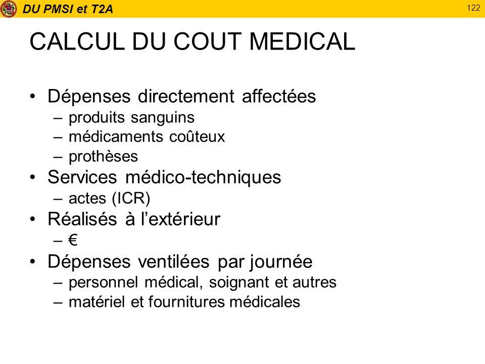 DU PMSI et T2A 122 CALCUL DU COUT MEDICAL Dépenses directement affectées –produits sanguins –médicaments coûteux –prothèses Services médico-techniques