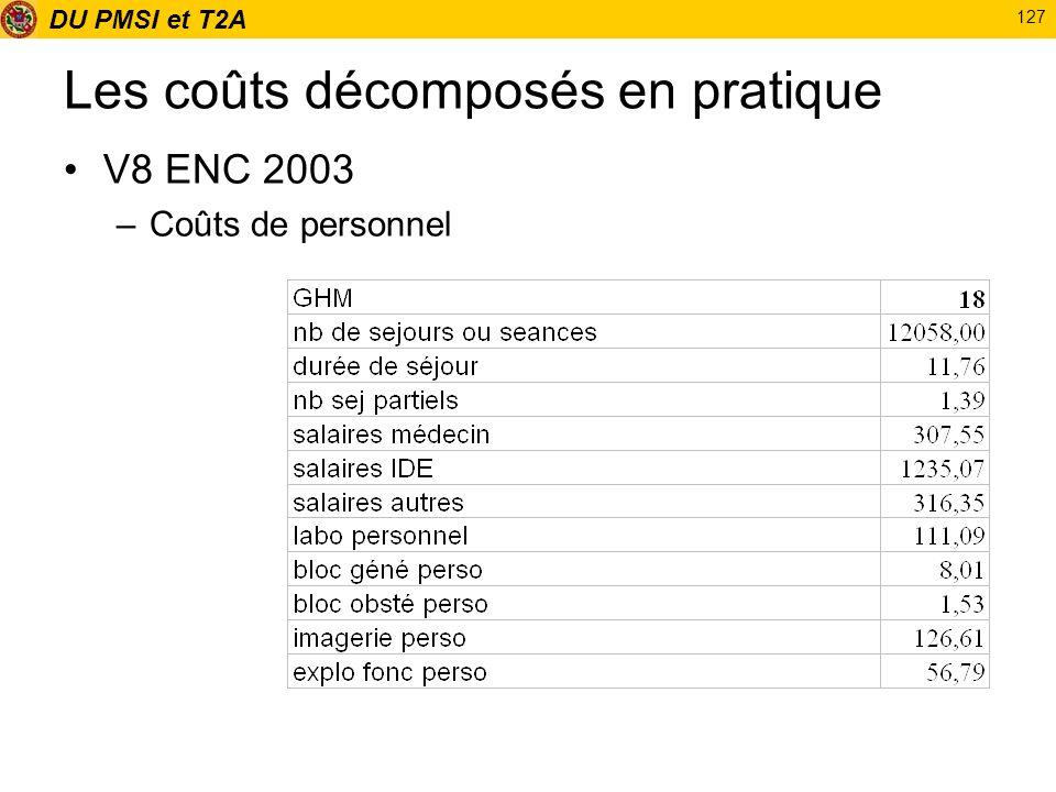 DU PMSI et T2A 127 Les coûts décomposés en pratique V8 ENC 2003 –Coûts de personnel