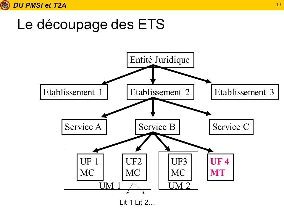 DU PMSI et T2A 13 Le découpage des ETS Entité Juridique Etablissement 3Etablissement 2Etablissement 1 Service AService BService C UF 1 MC UF2 MC UF3 M