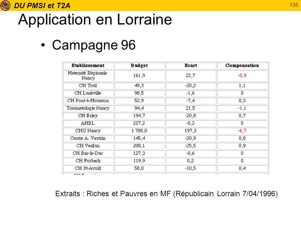 DU PMSI et T2A 135 Application en Lorraine Campagne 96 Extraits : Riches et Pauvres en MF (Républicain Lorrain 7/04/1996)