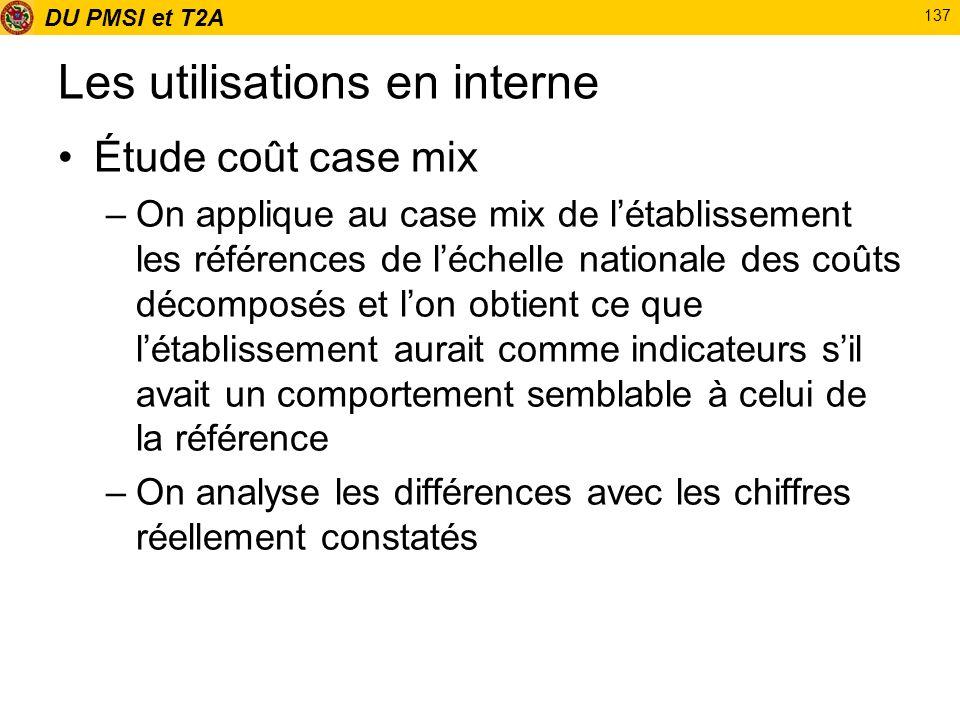 DU PMSI et T2A 137 Les utilisations en interne Étude coût case mix –On applique au case mix de létablissement les références de léchelle nationale des