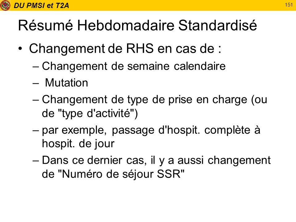 DU PMSI et T2A 151 Résumé Hebdomadaire Standardisé Changement de RHS en cas de : –Changement de semaine calendaire – Mutation –Changement de type de p