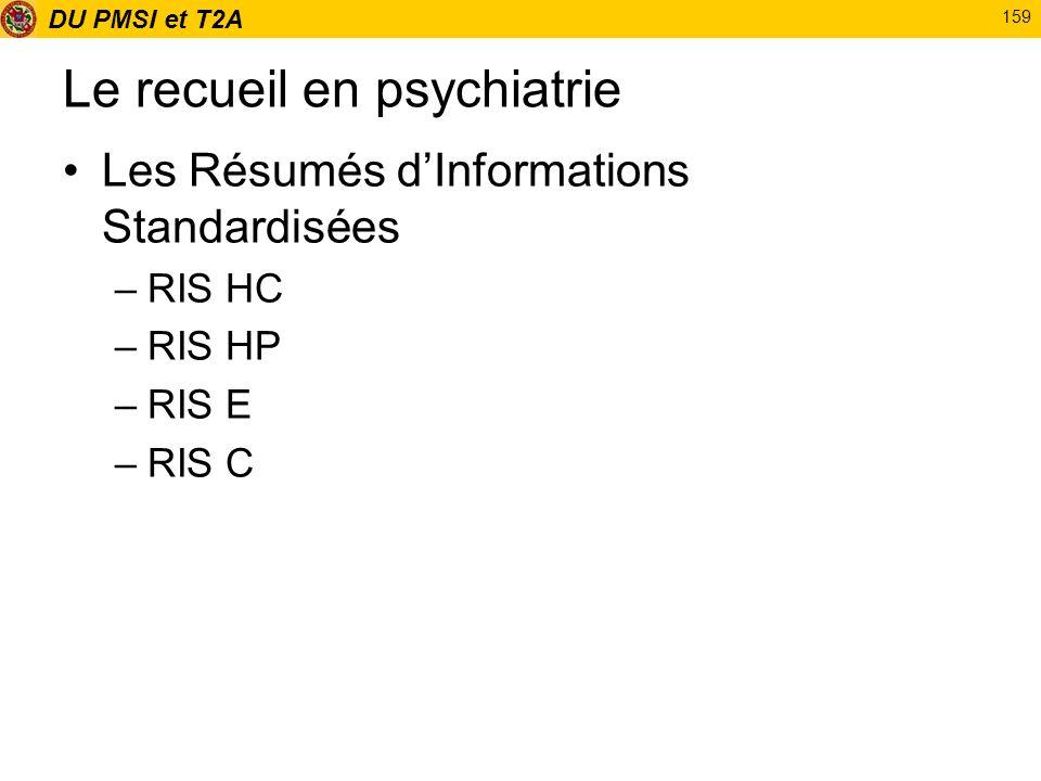 DU PMSI et T2A 159 Le recueil en psychiatrie Les Résumés dInformations Standardisées –RIS HC –RIS HP –RIS E –RIS C