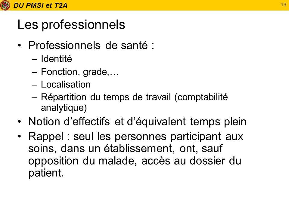 DU PMSI et T2A 16 Les professionnels Professionnels de santé : –Identité –Fonction, grade,… –Localisation –Répartition du temps de travail (comptabili