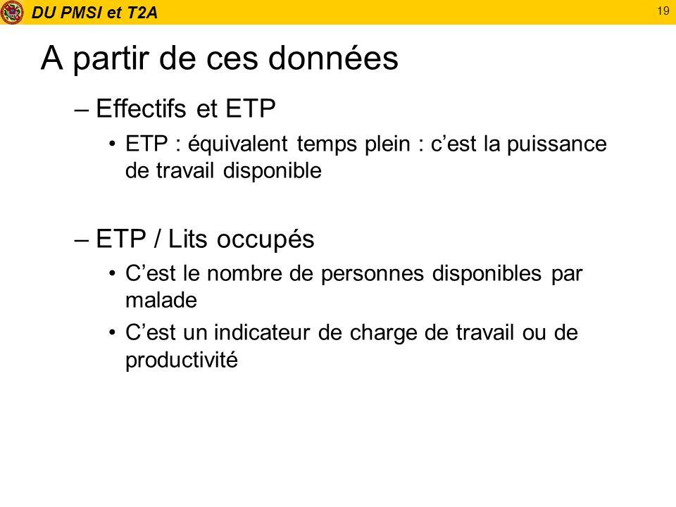DU PMSI et T2A 19 A partir de ces données –Effectifs et ETP ETP : équivalent temps plein : cest la puissance de travail disponible –ETP / Lits occupés