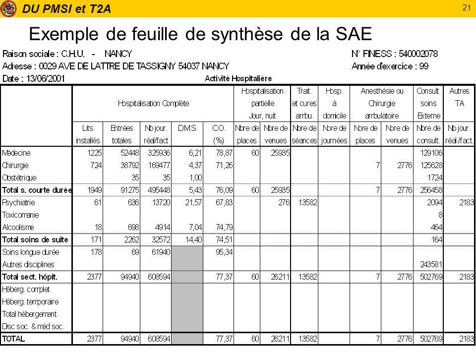 DU PMSI et T2A 21 Exemple de feuille de synthèse de la SAE