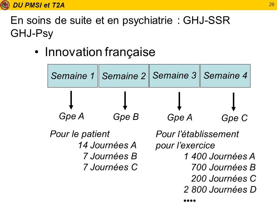 DU PMSI et T2A 26 En soins de suite et en psychiatrie : GHJ-SSR GHJ-Psy Innovation française Semaine 1 Semaine 2 Semaine 3 Semaine 4 Gpe A Gpe B Gpe A