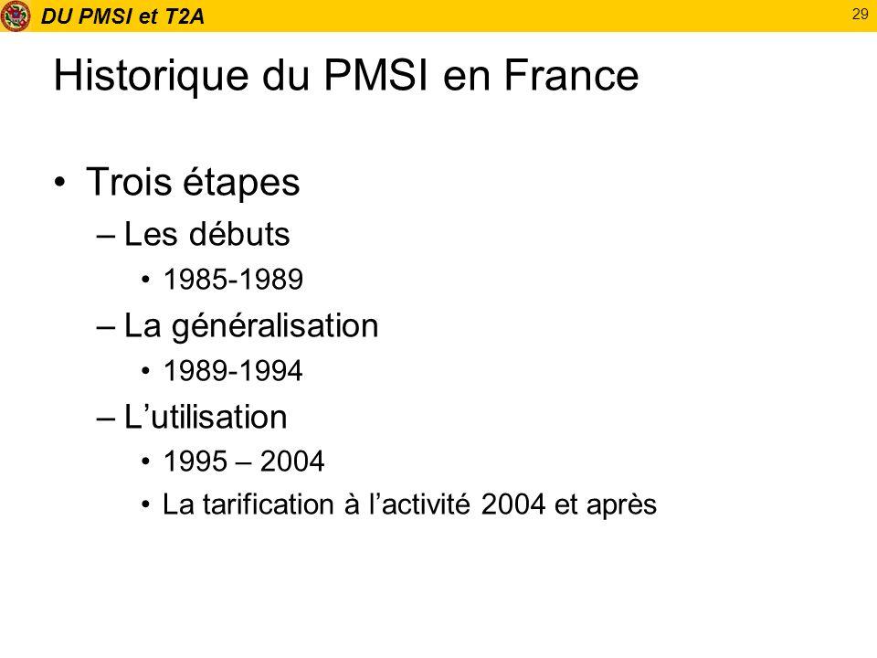 DU PMSI et T2A 29 Historique du PMSI en France Trois étapes –Les débuts 1985-1989 –La généralisation 1989-1994 –Lutilisation 1995 – 2004 La tarificati
