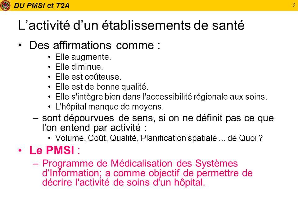 DU PMSI et T2A 44 Description médicale du séjour en CS.