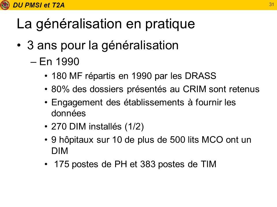DU PMSI et T2A 31 La généralisation en pratique 3 ans pour la généralisation –En 1990 180 MF répartis en 1990 par les DRASS 80% des dossiers présentés