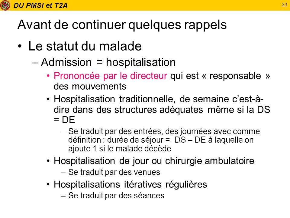 DU PMSI et T2A 33 Avant de continuer quelques rappels Le statut du malade –Admission = hospitalisation Prononcée par le directeur qui est « responsabl
