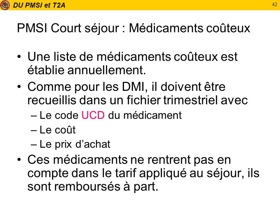 DU PMSI et T2A 42 PMSI Court séjour : Médicaments coûteux Une liste de médicaments coûteux est établie annuellement. Comme pour les DMI, il doivent êt