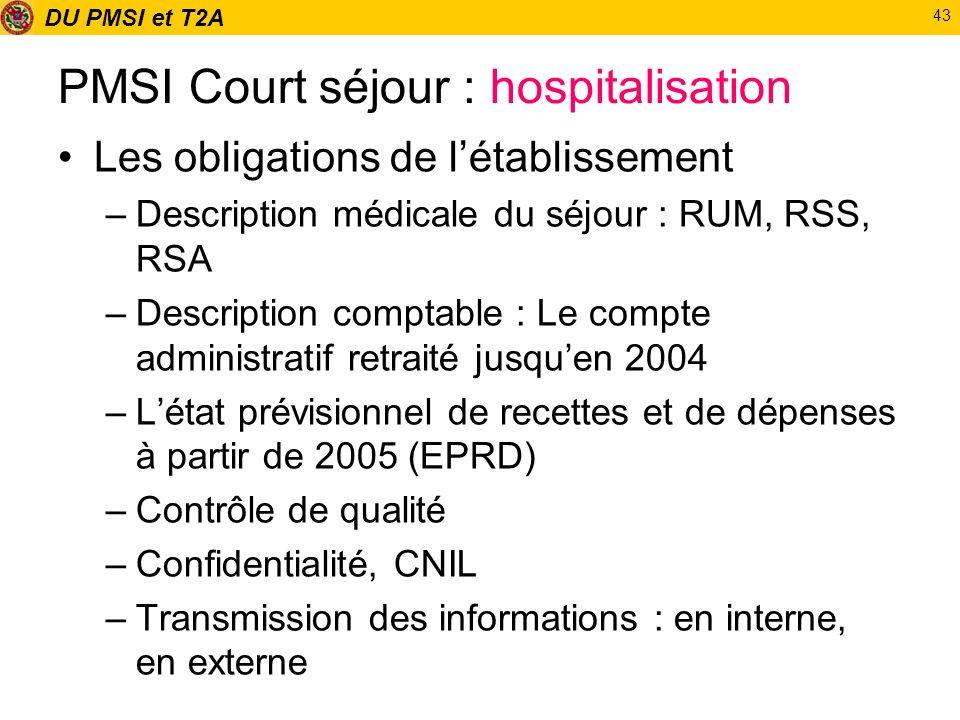 DU PMSI et T2A 43 PMSI Court séjour : hospitalisation Les obligations de létablissement –Description médicale du séjour : RUM, RSS, RSA –Description c