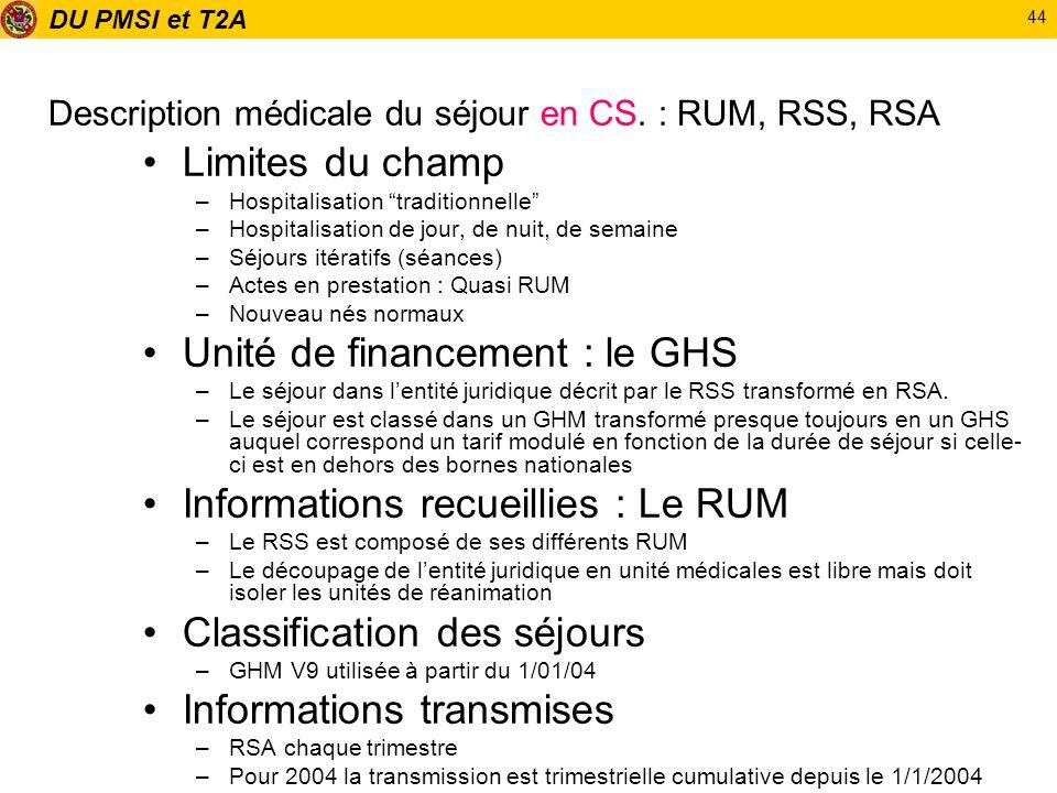 DU PMSI et T2A 44 Description médicale du séjour en CS. : RUM, RSS, RSA Limites du champ –Hospitalisation traditionnelle –Hospitalisation de jour, de