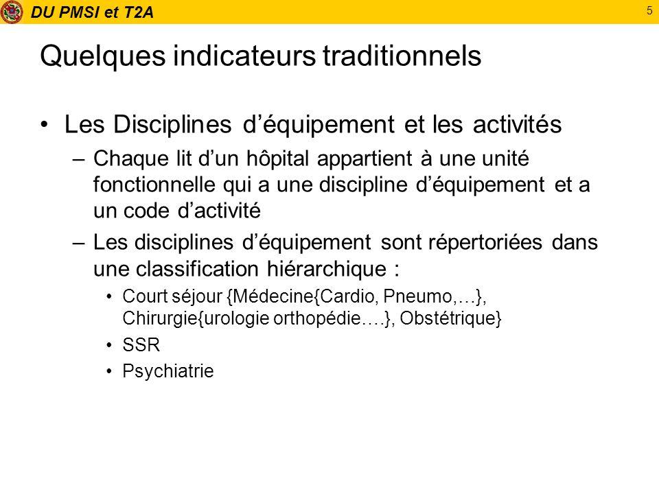 DU PMSI et T2A 5 Quelques indicateurs traditionnels Les Disciplines déquipement et les activités –Chaque lit dun hôpital appartient à une unité foncti