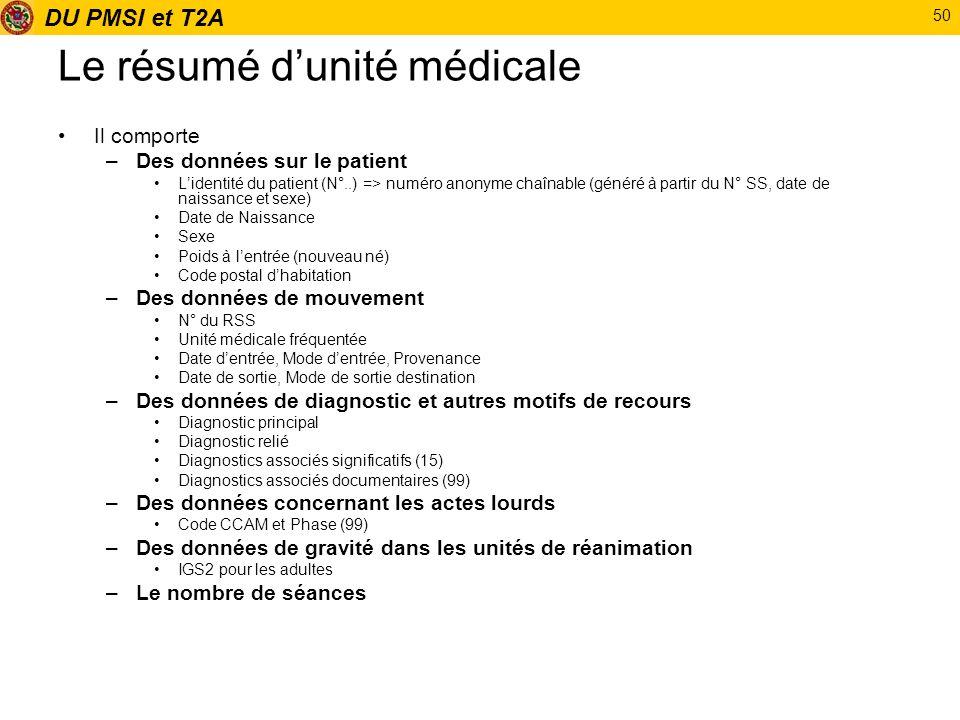 DU PMSI et T2A 50 Le résumé dunité médicale Il comporte –Des données sur le patient Lidentité du patient (N°..) => numéro anonyme chaînable (généré à
