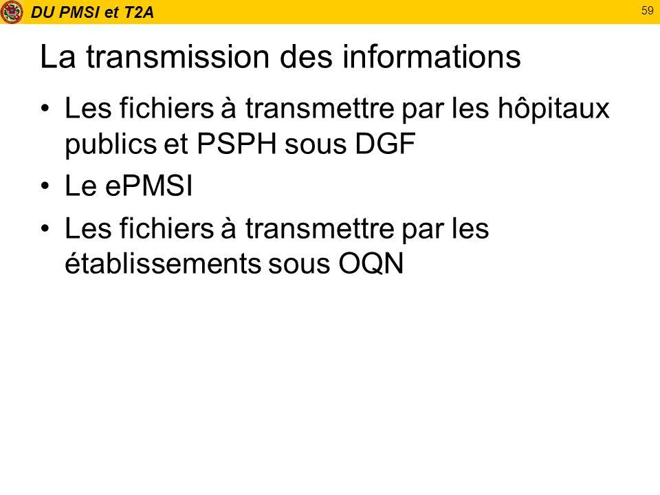 DU PMSI et T2A 59 La transmission des informations Les fichiers à transmettre par les hôpitaux publics et PSPH sous DGF Le ePMSI Les fichiers à transm
