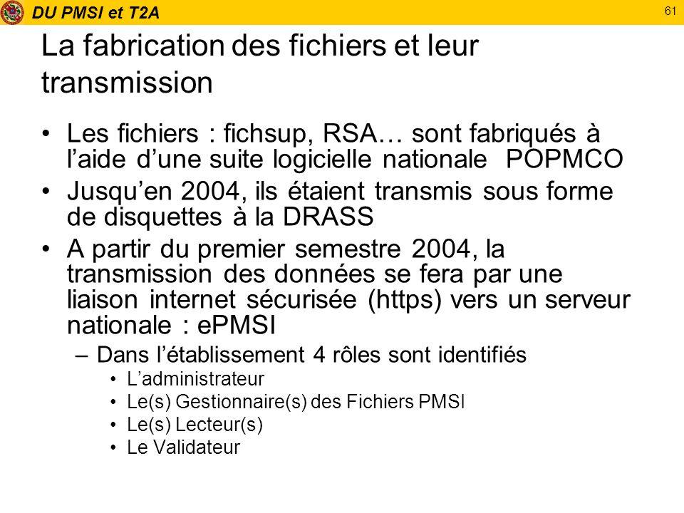 DU PMSI et T2A 61 La fabrication des fichiers et leur transmission Les fichiers : fichsup, RSA… sont fabriqués à laide dune suite logicielle nationale