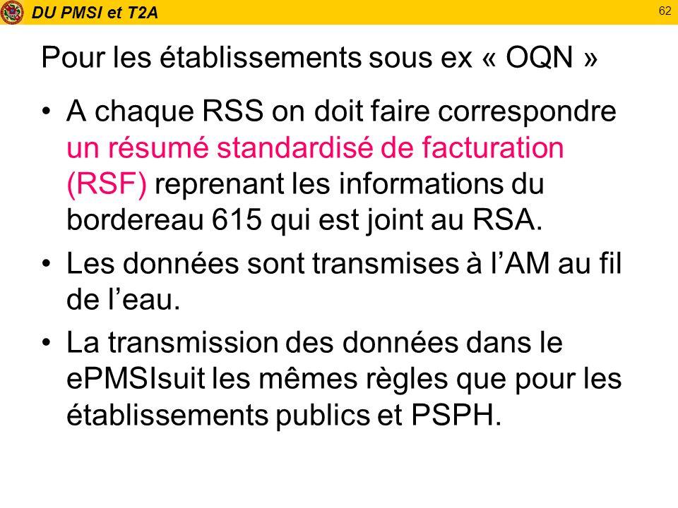 DU PMSI et T2A 62 Pour les établissements sous ex « OQN » A chaque RSS on doit faire correspondre un résumé standardisé de facturation (RSF) reprenant