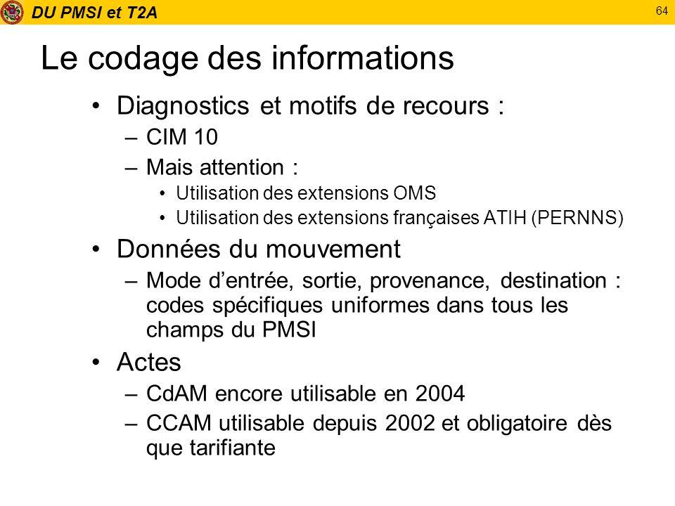 DU PMSI et T2A 64 Le codage des informations Diagnostics et motifs de recours : –CIM 10 –Mais attention : Utilisation des extensions OMS Utilisation d