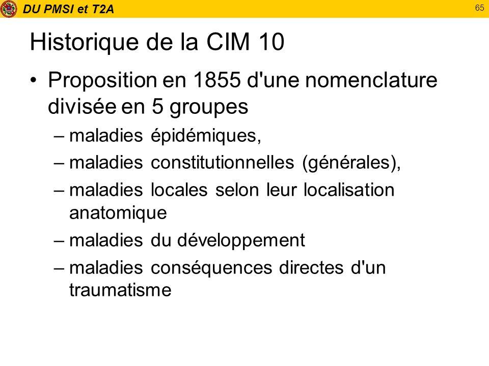 DU PMSI et T2A 65 Historique de la CIM 10 Proposition en 1855 d'une nomenclature divisée en 5 groupes –maladies épidémiques, –maladies constitutionnel