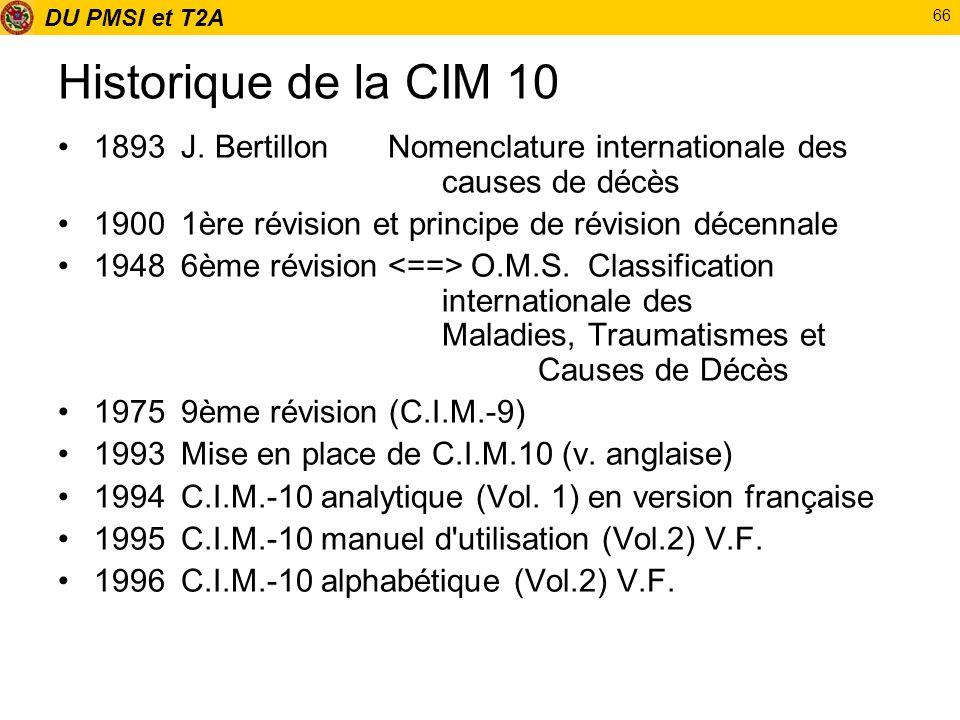 DU PMSI et T2A 66 Historique de la CIM 10 1893J. BertillonNomenclature internationale des causes de décès 19001ère révision et principe de révision dé