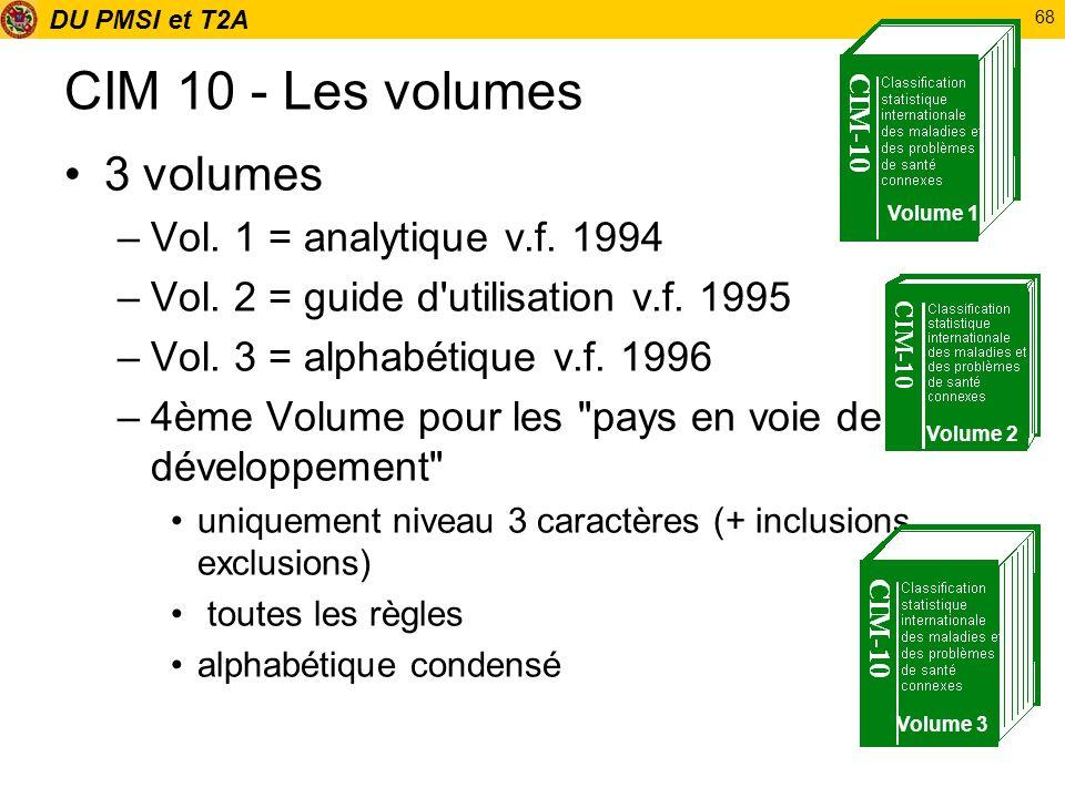 DU PMSI et T2A 68 CIM 10 - Les volumes 3 volumes –Vol. 1 = analytique v.f. 1994 –Vol. 2 = guide d'utilisation v.f. 1995 –Vol. 3 = alphabétique v.f. 19