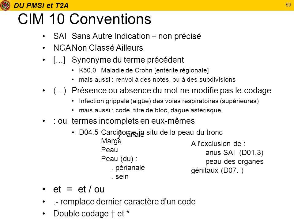 DU PMSI et T2A 69 CIM 10 Conventions SAISans Autre Indication = non précisé NCANon Classé Ailleurs [...]Synonyme du terme précédent K50.0 Maladie de C