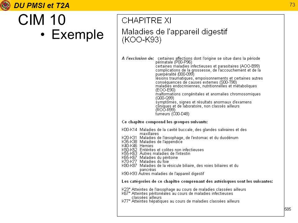 DU PMSI et T2A 73 CIM 10 Exemple