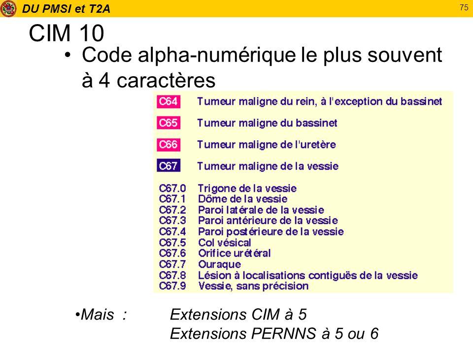 DU PMSI et T2A 75 CIM 10 Code alpha-numérique le plus souvent à 4 caractères Mais :Extensions CIM à 5 Extensions PERNNS à 5 ou 6