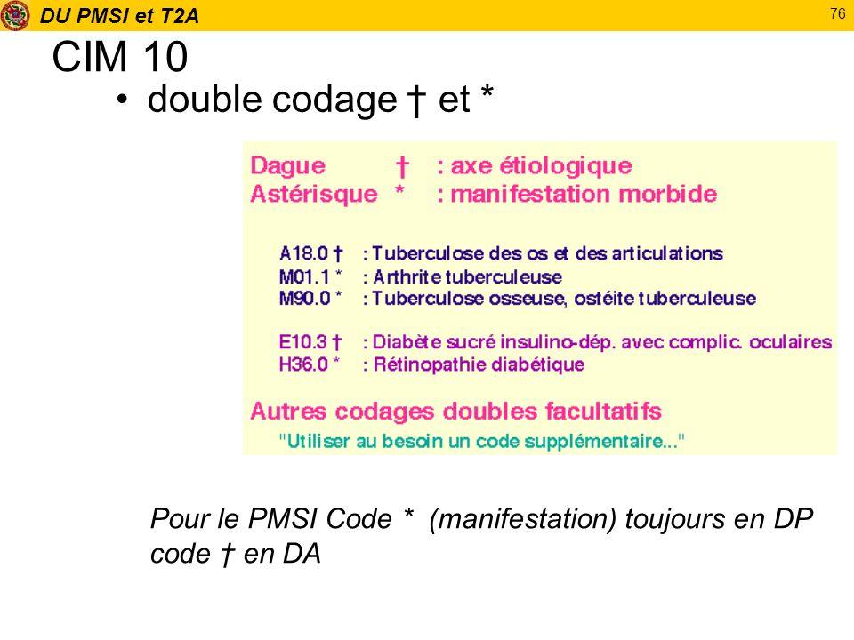 DU PMSI et T2A 76 CIM 10 double codage et * Pour le PMSI Code * (manifestation) toujours en DP code en DA