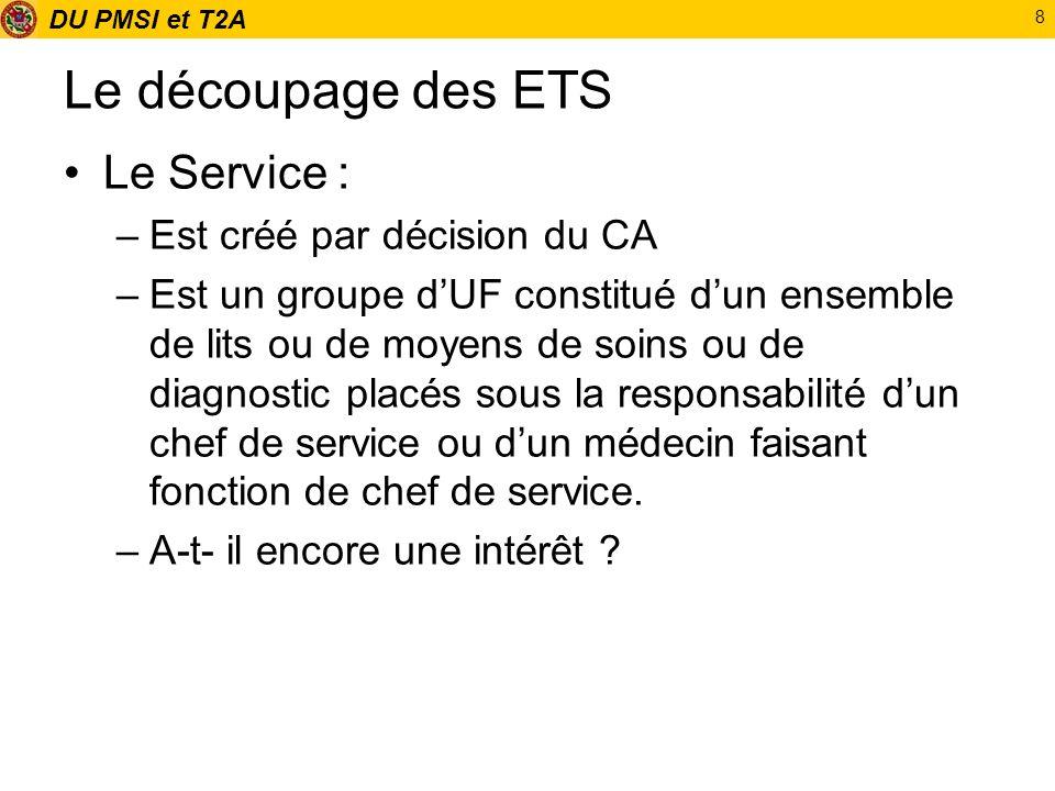 DU PMSI et T2A 8 Le découpage des ETS Le Service : –Est créé par décision du CA –Est un groupe dUF constitué dun ensemble de lits ou de moyens de soin