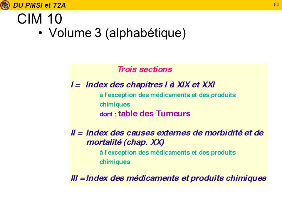 DU PMSI et T2A 80 CIM 10 Volume 3 (alphabétique)