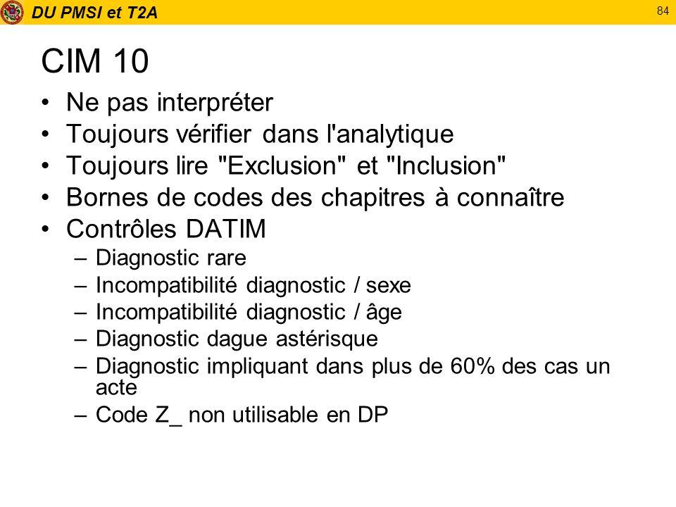DU PMSI et T2A 84 CIM 10 Ne pas interpréter Toujours vérifier dans l'analytique Toujours lire