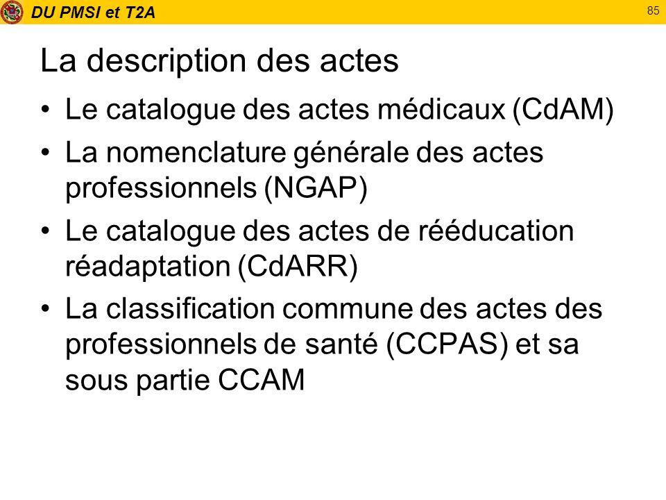 DU PMSI et T2A 85 La description des actes Le catalogue des actes médicaux (CdAM) La nomenclature générale des actes professionnels (NGAP) Le catalogu