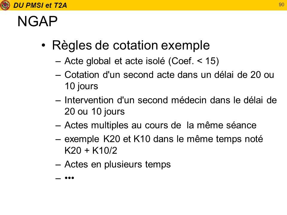 DU PMSI et T2A 90 NGAP Règles de cotation exemple –Acte global et acte isolé (Coef. < 15) –Cotation d'un second acte dans un délai de 20 ou 10 jours –