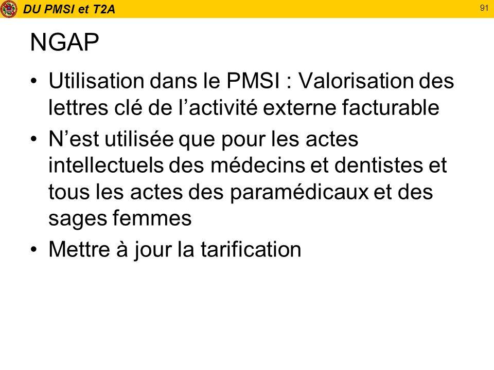 DU PMSI et T2A 91 NGAP Utilisation dans le PMSI : Valorisation des lettres clé de lactivité externe facturable Nest utilisée que pour les actes intell