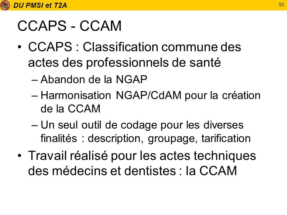 DU PMSI et T2A 92 CCAPS - CCAM CCAPS : Classification commune des actes des professionnels de santé –Abandon de la NGAP –Harmonisation NGAP/CdAM pour