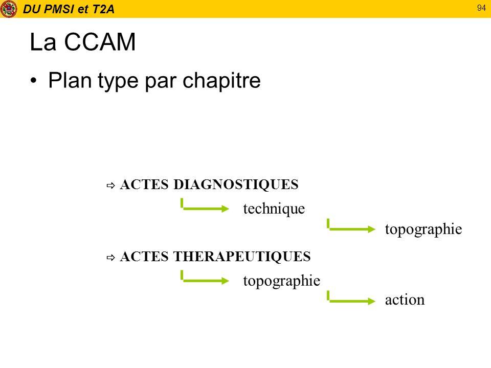 DU PMSI et T2A 94 La CCAM Plan type par chapitre ACTES DIAGNOSTIQUES ACTES THERAPEUTIQUES technique topographie action